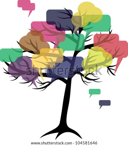 forum or chat: in  tree of speech bubbles concept - stock vector