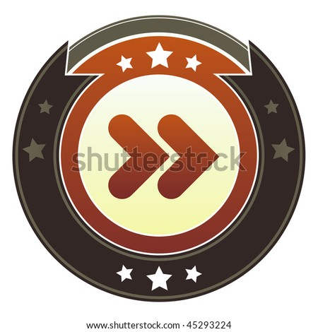 Forward, next, or skip media player icon on round red and brown imperial vector button with star accents