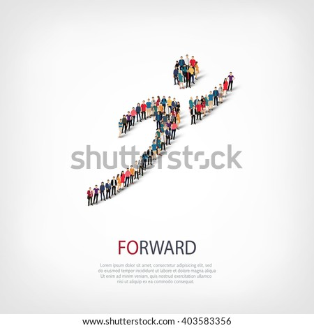 forward  people crowd - stock vector