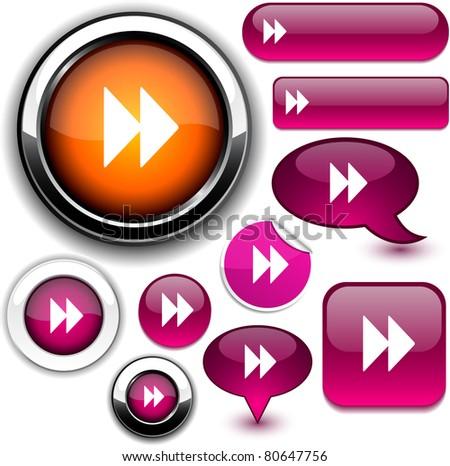 Forward vector glossy icons. - stock vector