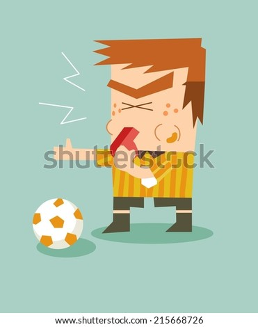 Foul and referee blow the whistle. Flat vector illustration - stock vector