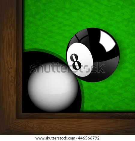 Foul! The white snooker ball inside the hole of the snooker table.(EPS10 art vector)