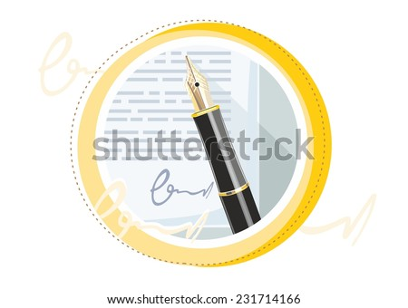 Fountain ink old pen with paper page with signature in cartoon design style - stock vector
