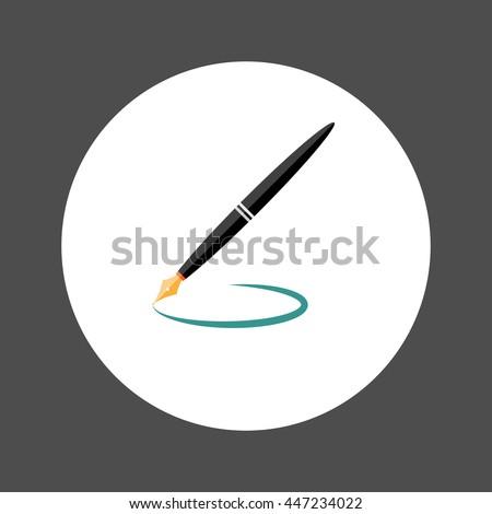 Fountain Pen, Flat designed Vector Illustration - stock vector