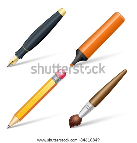 Fountain pen, marker, pencil and brush. Vector illustration - stock vector