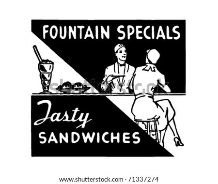 Fountains Specials - Retro Ad Art Banner - stock vector
