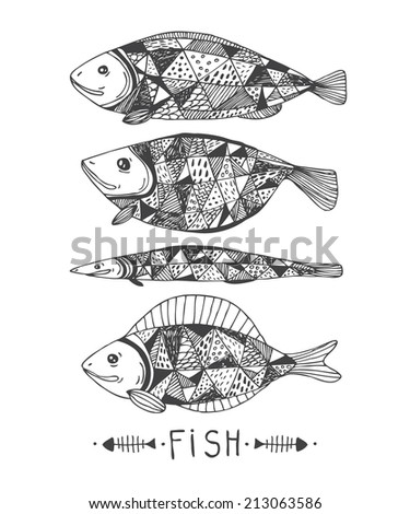four abstract hand drawn fishes