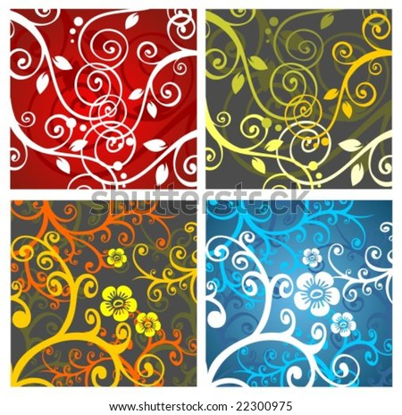 Four abstract  pattern with curves and flowers.