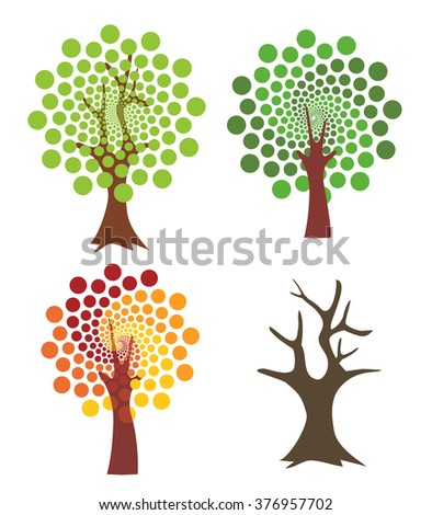 Four abstract trees. Four stylized trees representing four seasons.  - stock vector