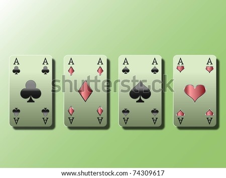 Four Aces ,poker card on green background.