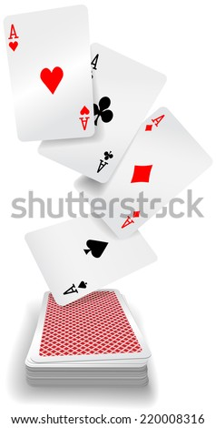 Four aces poker hand fly up from red back playing cards deck - stock vector