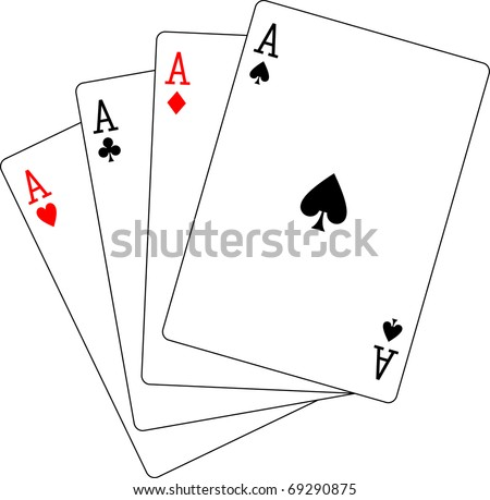 four aces poker playing cards - stock vector