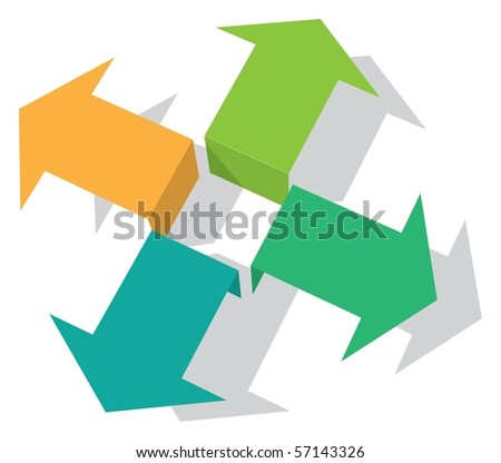 Four Arrows - stock vector