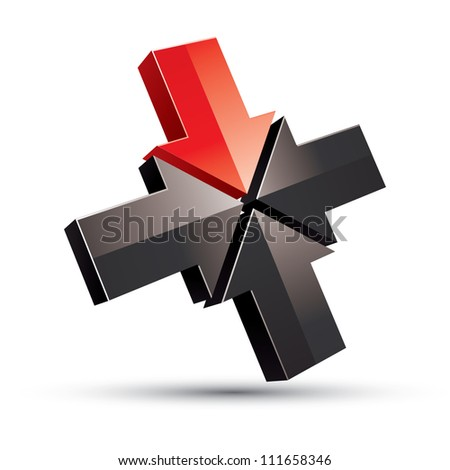 Four arrows pointing into the center, abstract creative business icon, vector. - stock vector