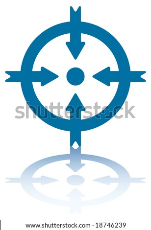 Four Arrows Pointing to a Dot Inside a Circle [.jpeg file has clipping path]