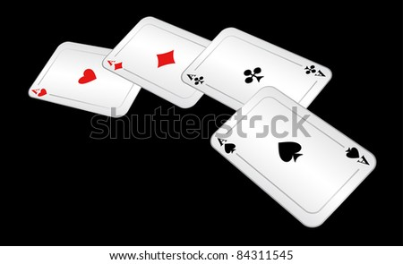 Four ases lie on a black background. - stock vector