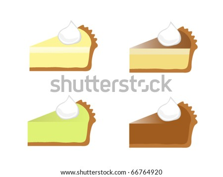 Four Assorted Pie Slices - stock vector