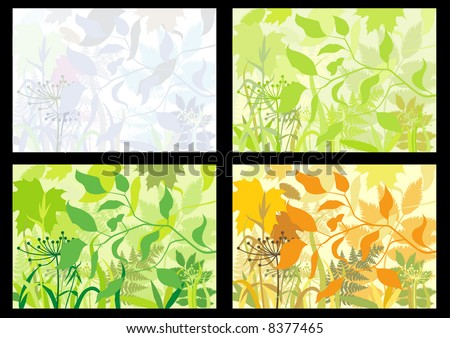 Four backgrounds with colors of seasons.