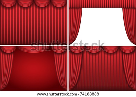 Four backgrounds with red theater curtains. Vector illustration. - stock vector