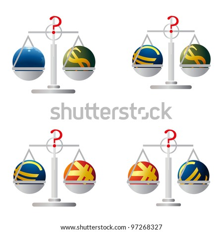 Four balances with symbols of Euro, US Dollar, Yuan and Earth - stock vector