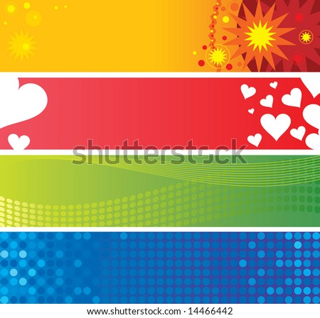 four banner backgrounds - stock vector