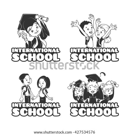 Four banner for the International School in black and white style. Template logo. Vector Illustration isolated on a White Background. - stock vector
