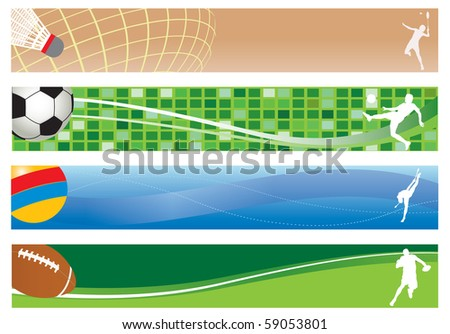Four banners. Sport. Vector illustration - stock vector