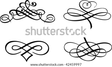 Four Baroque Curves. Vector Illustration. - stock vector
