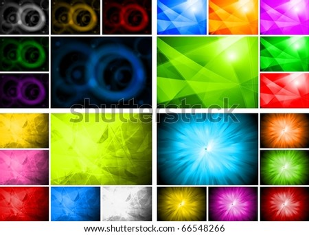Four beautiful abstract backgrounds in six colors - stock vector