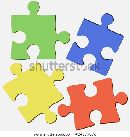 Four beautiful bright background of the puzzle on ivory - stock vector