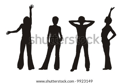 four beautiful silhouettes of young girl - stock vector