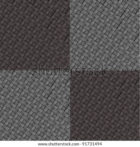 four black and grey pattern squares - stock vector