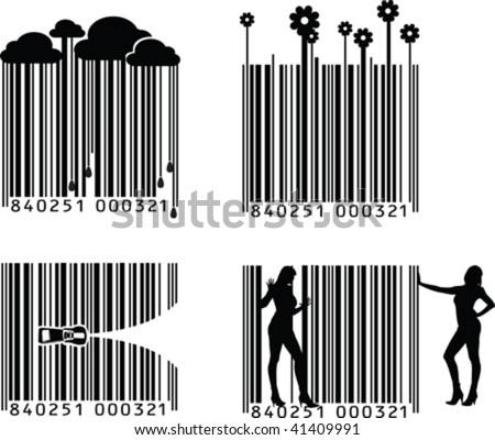Four Black And White Barcode Variations - stock vector