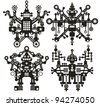 Four black and white robots. Vector illustration. - stock vector