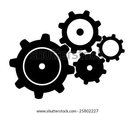 Four Black Gears - stock vector