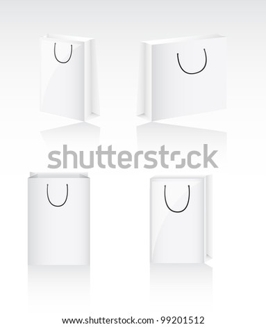 four blank bags with shadow, background. vector illustration