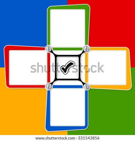 Four blank text frames for your text and check box - stock vector