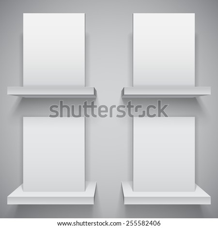 Four blank white boxes on white shelves - stock vector