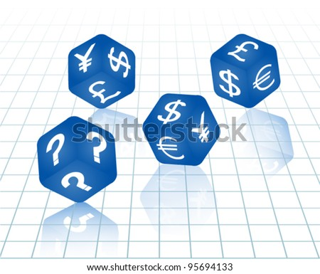 four blue dices with currency symbols euro, dollar, yen, pound and question mark. Vector illustration. - stock vector
