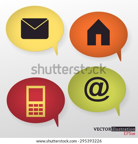 Four blue, red, orange and yellow colored speech bubble with symbols of house, mobile phone, mail. Vector illustration. - stock vector
