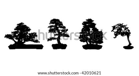 four bonsai silhouettes - stock vector