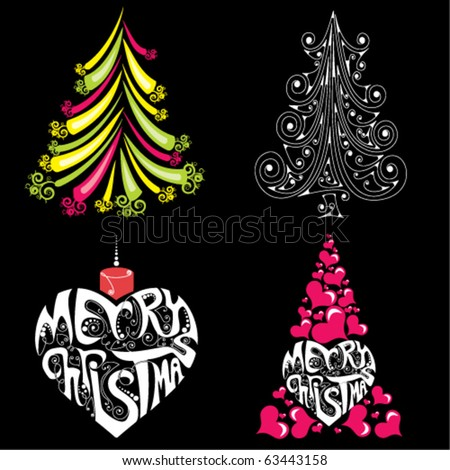 four bright christmas trees on black background - stock vector