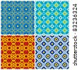 Four bright, colorful seamless geometric patterns - stock vector