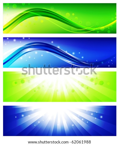 Four bright web banner set in blue and green - stock vector