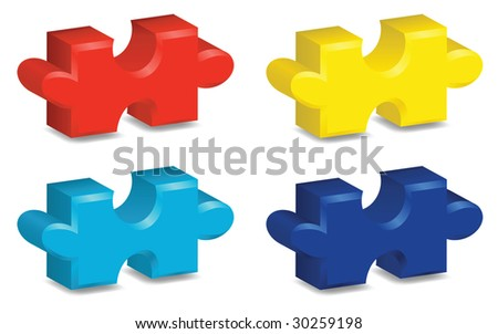 Four brightly colored, three-dimensional puzzle pieces, contains gradient mesh. - stock vector