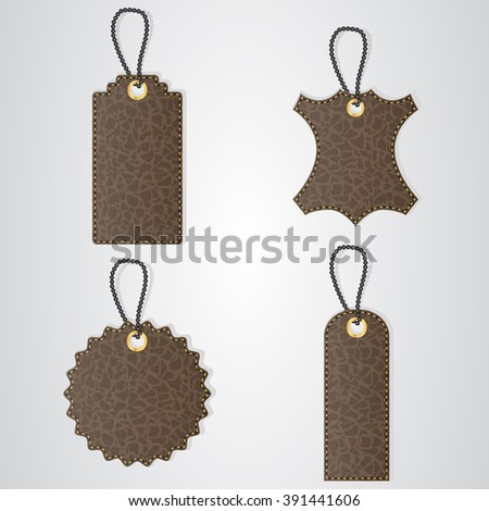 Four brown leather VIP tag with gold thread hang on the bar. Vector