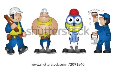 Four building construction characters isolated on white background - stock vector