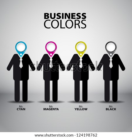 Four business man figure in Cyan, Magenta, Yellow and Black color - vector illustration - CMYK - stock vector