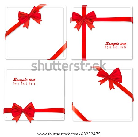 Four cards with ribbons. Vector. - stock vector