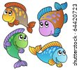 Four cartoon fishes - vector illustration. - stock vector